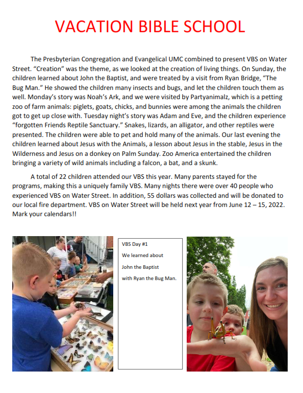 VBS page for newsletter