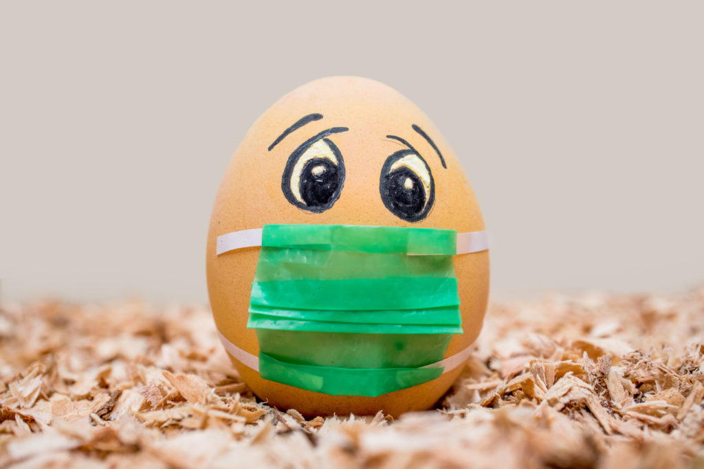 worried egg with mask